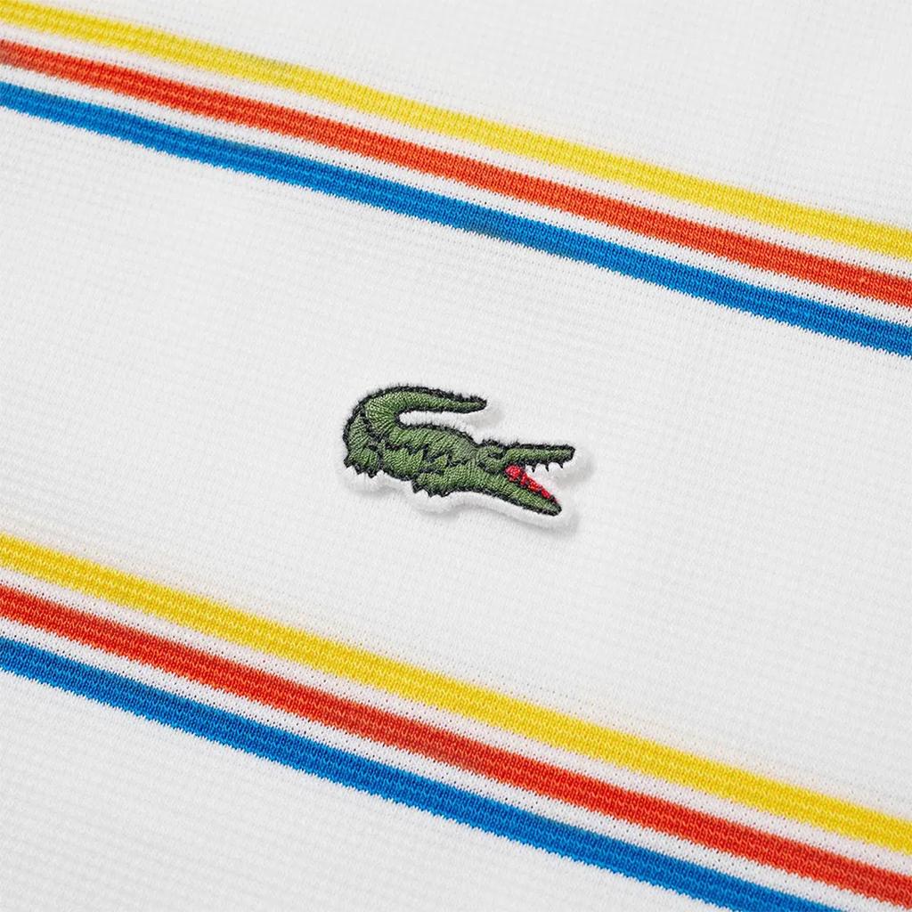 Áo Lacoste Striple Polo (Slim Fit) – Trắng