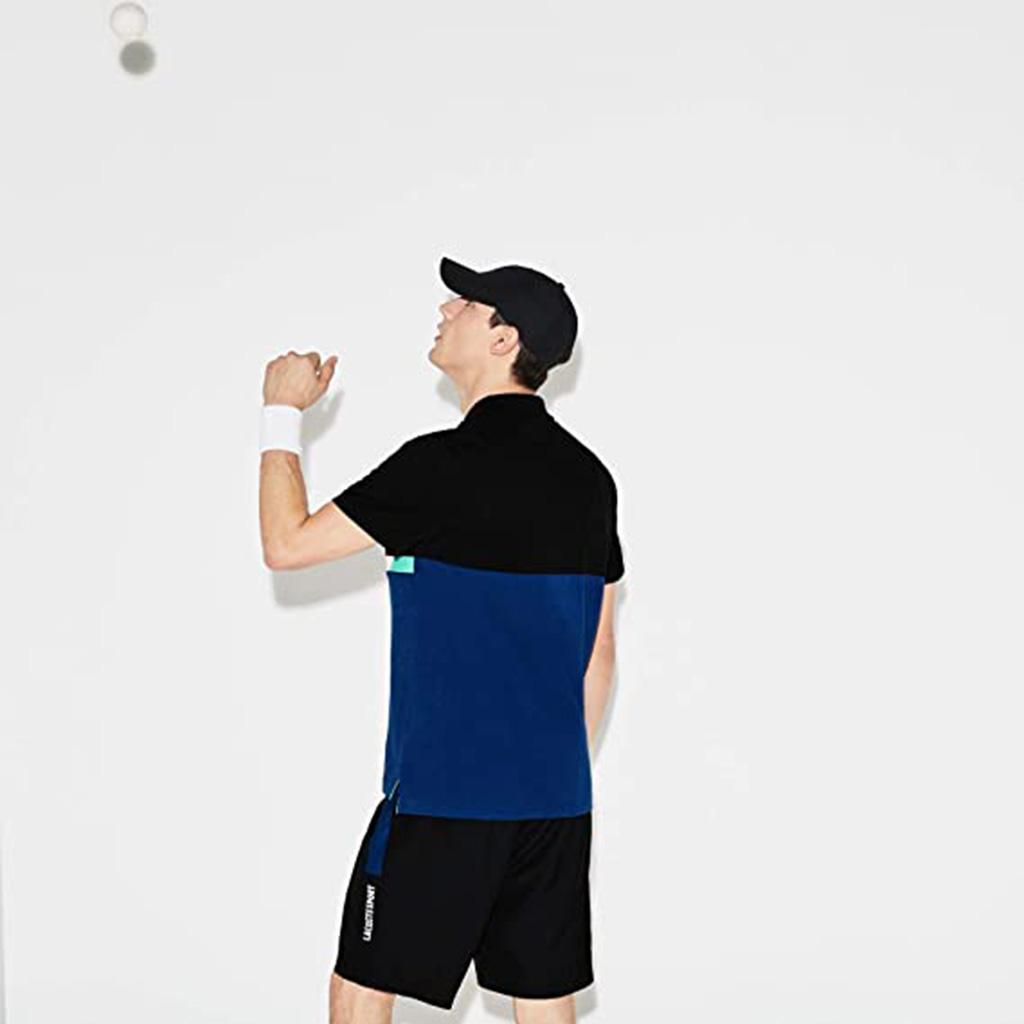 Áo Lacoste SPORT Colourblock Ultra-Light Cotton Polo (Đen-Xanh)