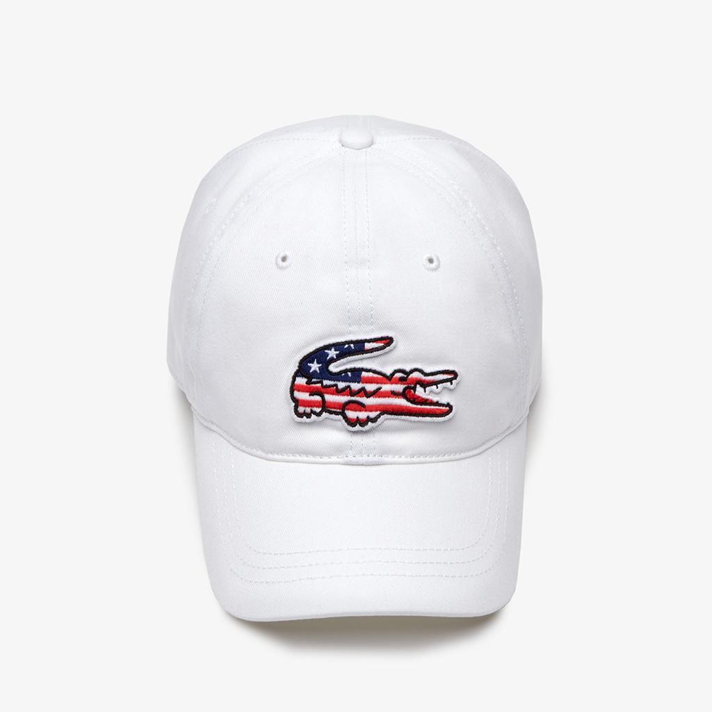Mũ Lacoste American Flag Croc (Trắng)