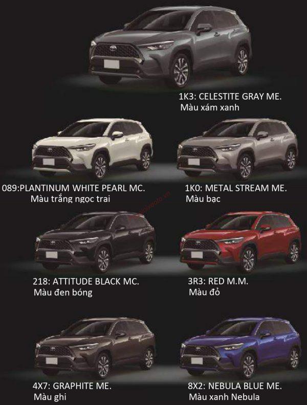 Bảng màu xe Toyota Corolla Cross2021