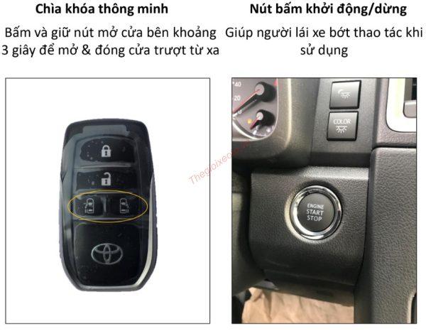 Chìa khóa thông minh và hệ thống đề nổ bằng nút bấm trên xe Granvia