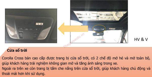 Cửa sổ trời được trang bị trên Corolla Cross 1.8V và 1.8HV Hybrid 2021