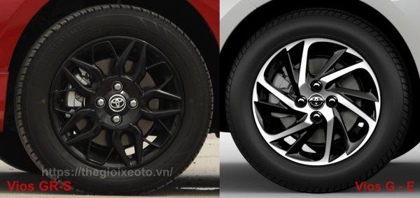 Lazang của từng phiên bản Toyota Vios 2021