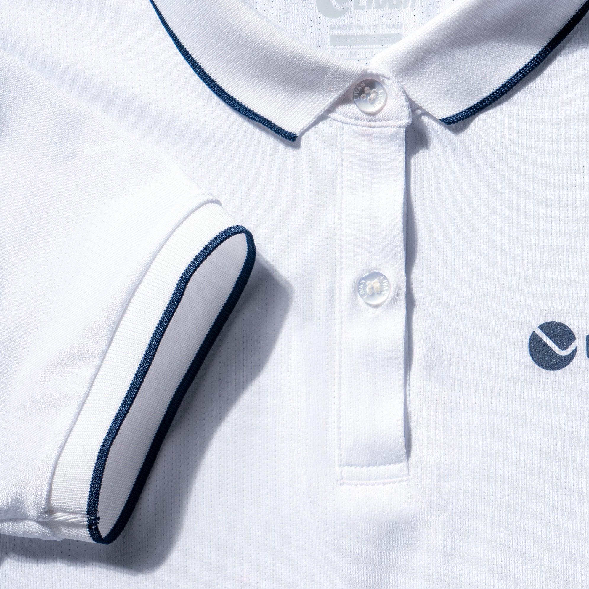 Áo polo nam trắng in kẻ LV21221001