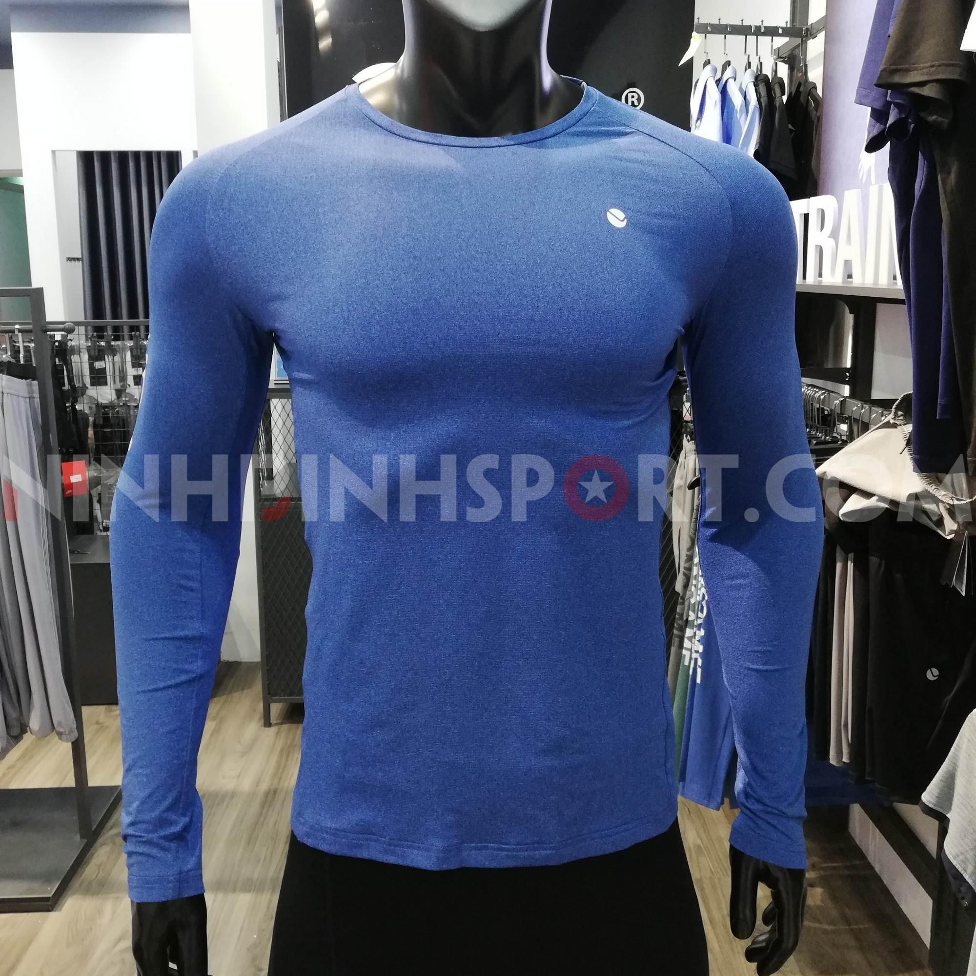 Áo tập dài tay nam màu xanh đậm 221206