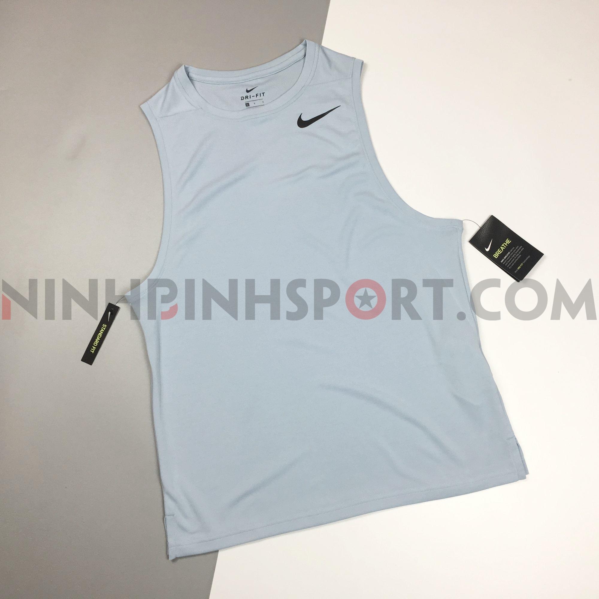Áo thể thao nam Nike Solid  Round Neck Blue AQ0464-430