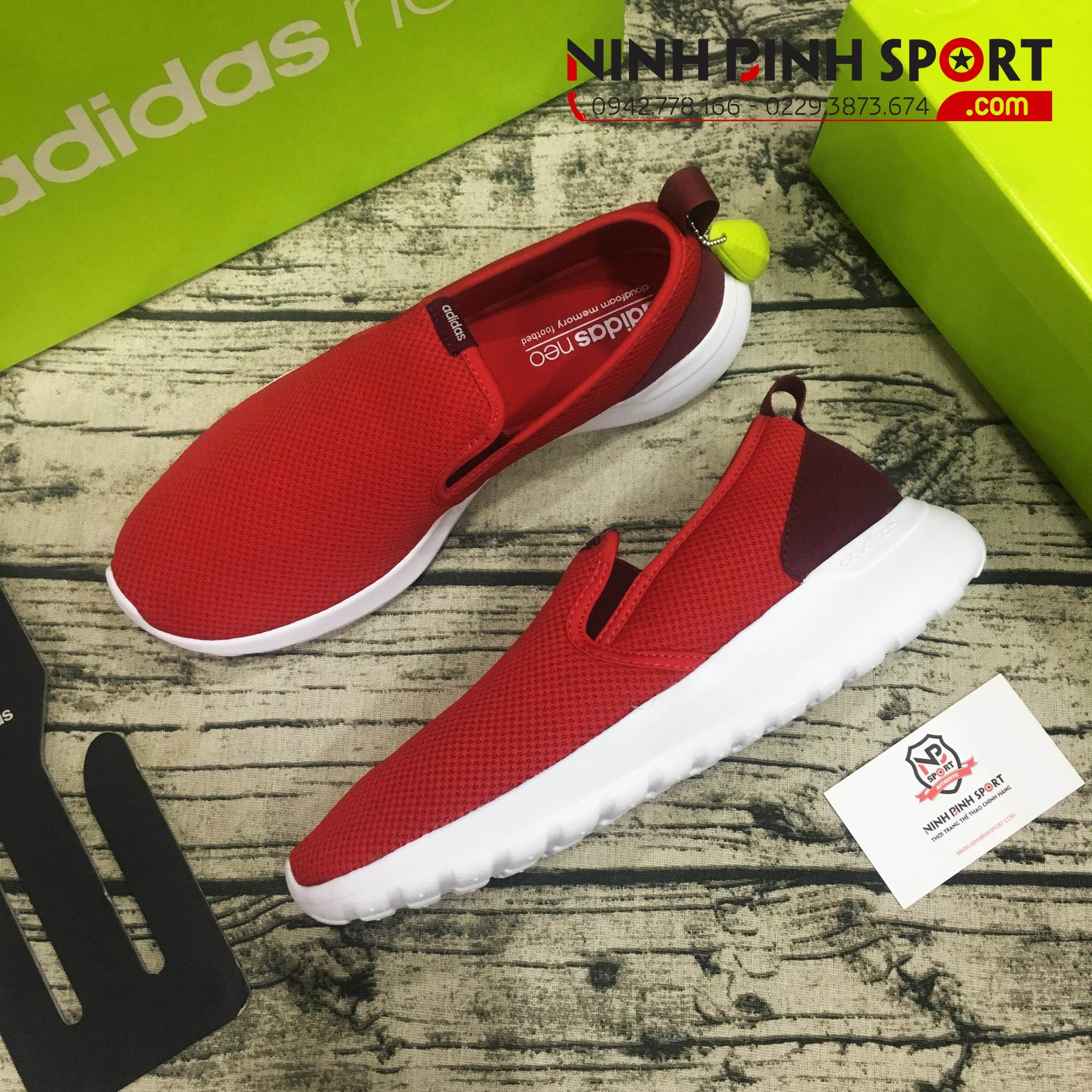 Adidas Neo Cloudfoam Lite Racer So Slipper Red AW4186