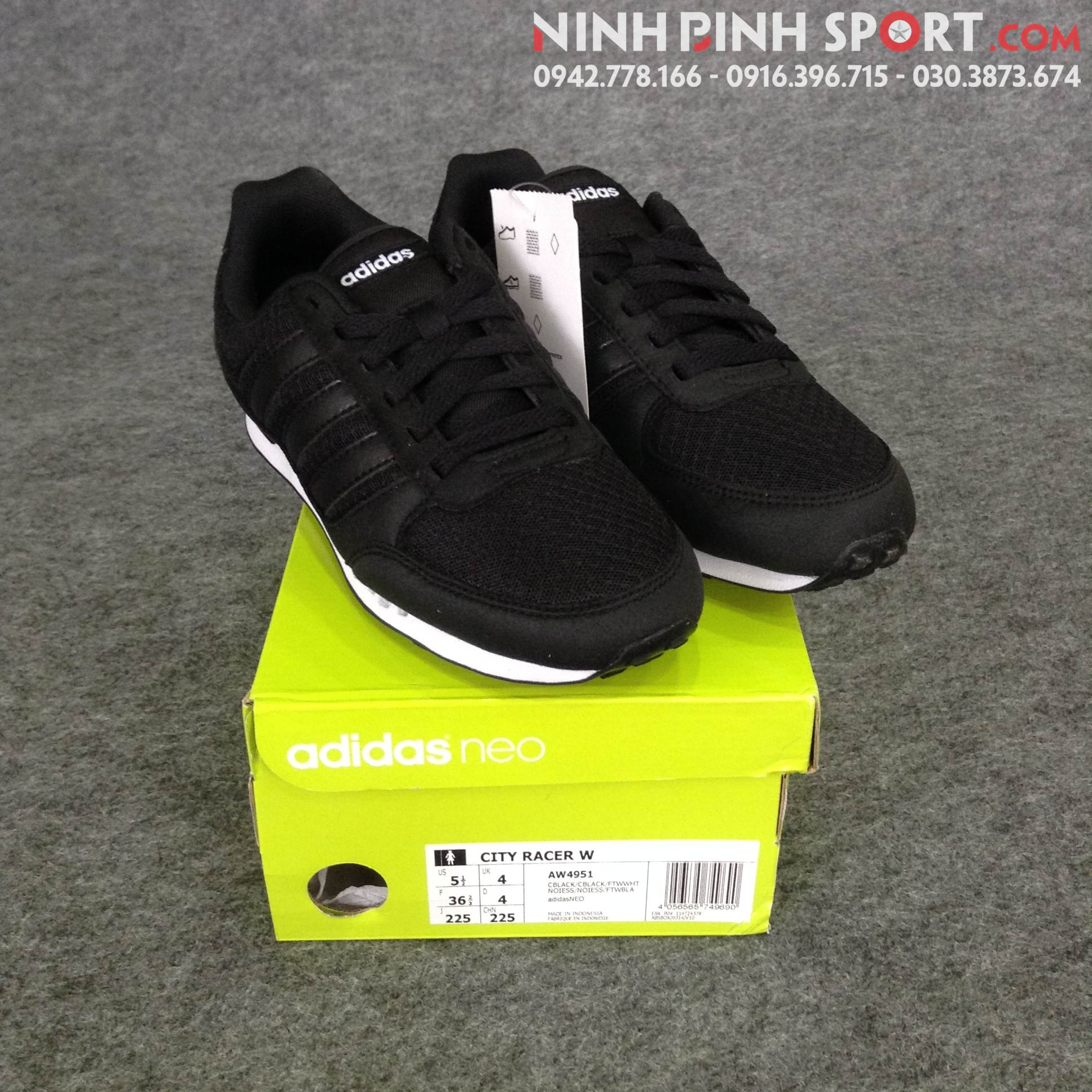 Giầy thể thao nữ Adidas Neo City Racer Shoes - Black AW4951