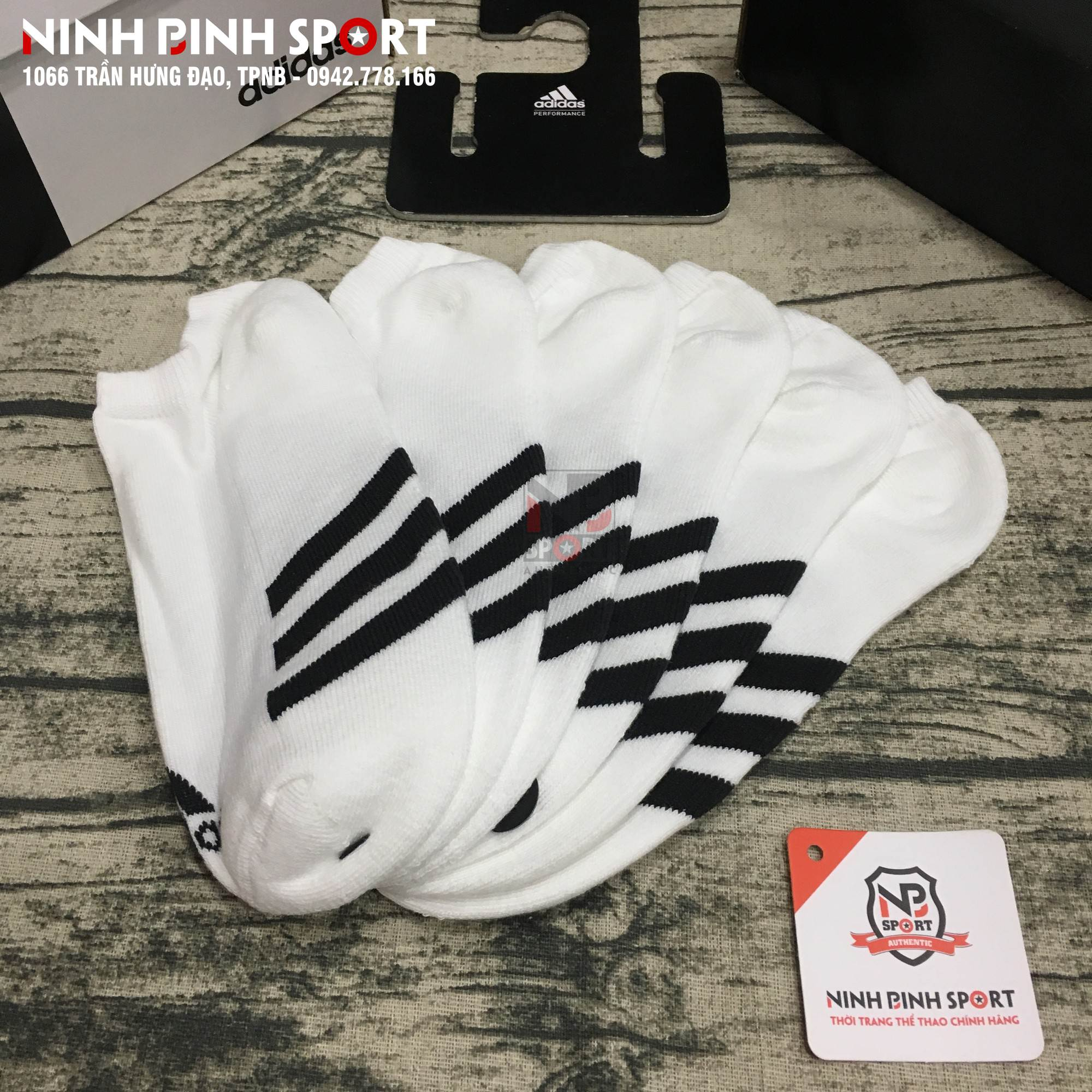Tất thể thao Adidas No-Show Socks 3 Pairs White CF8435