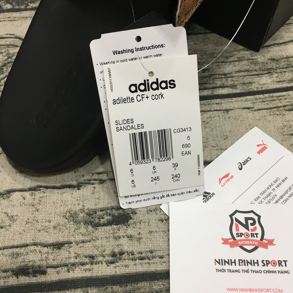 Dép Adidas Adilette Cloudfoam Plus Stripes Slides Nam CG3413