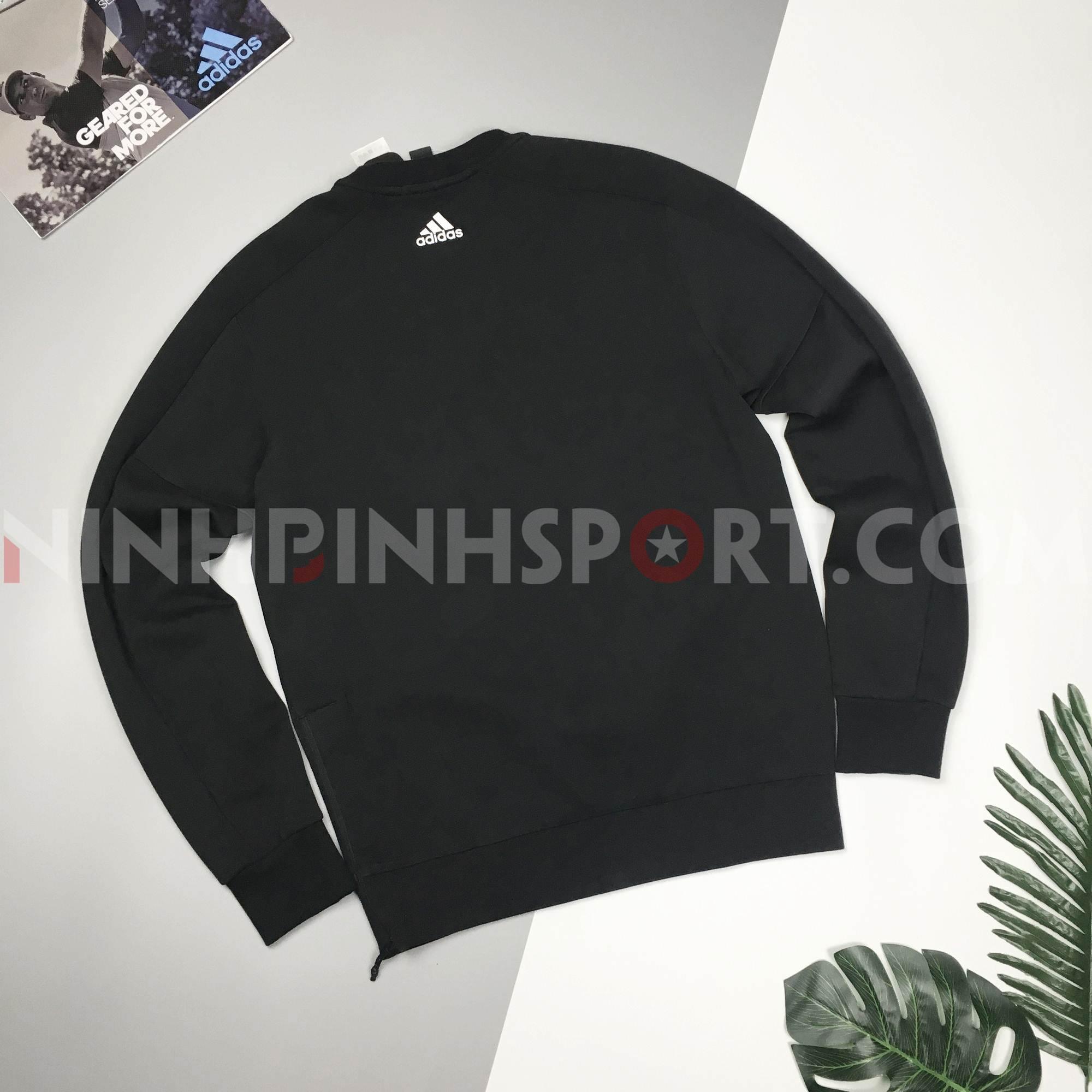 Áo dài tay nam Adidas Crew Denim Zip Black CV6211