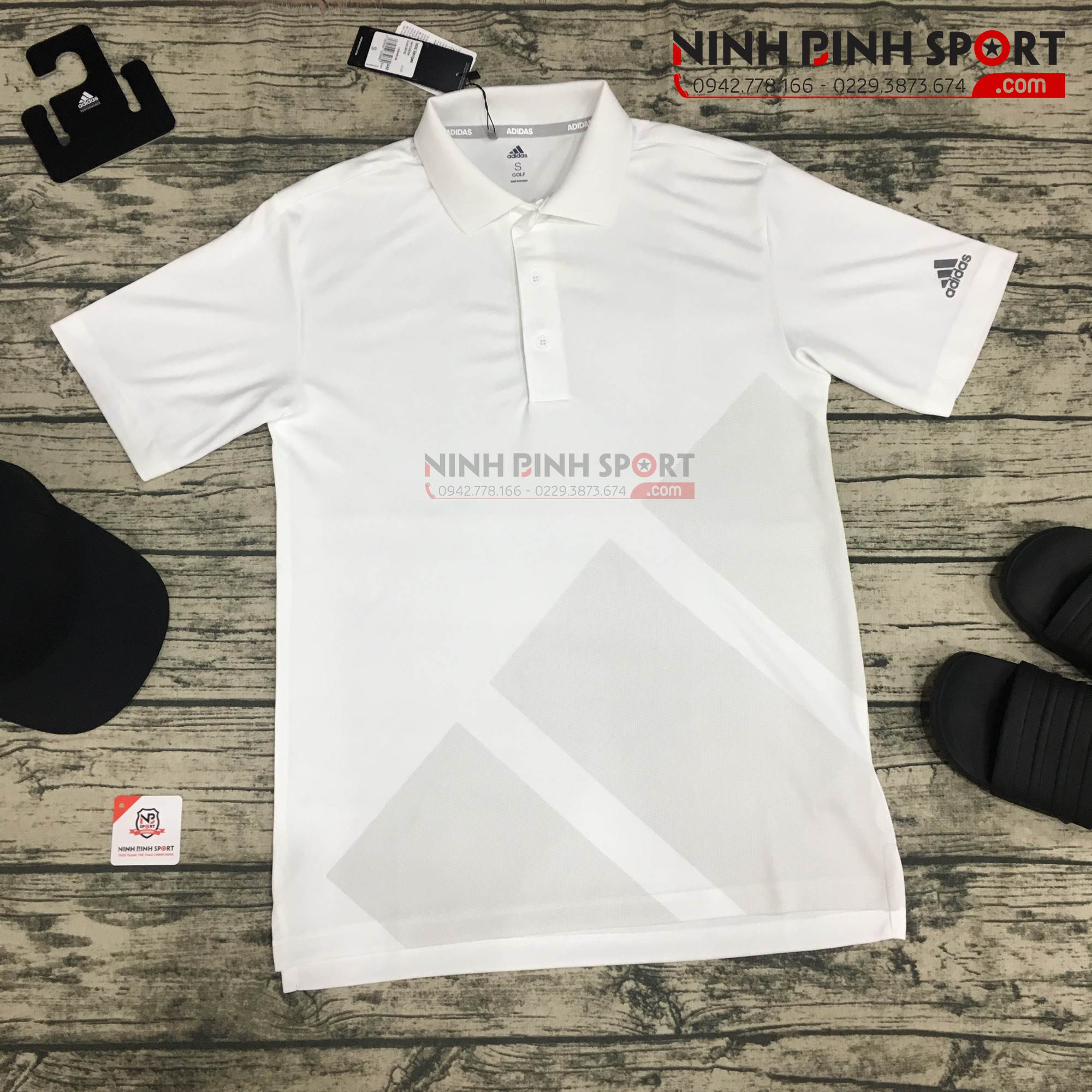 Áo thể thao golf nam Adidas Bold 3-Stripes Polo White CY2161