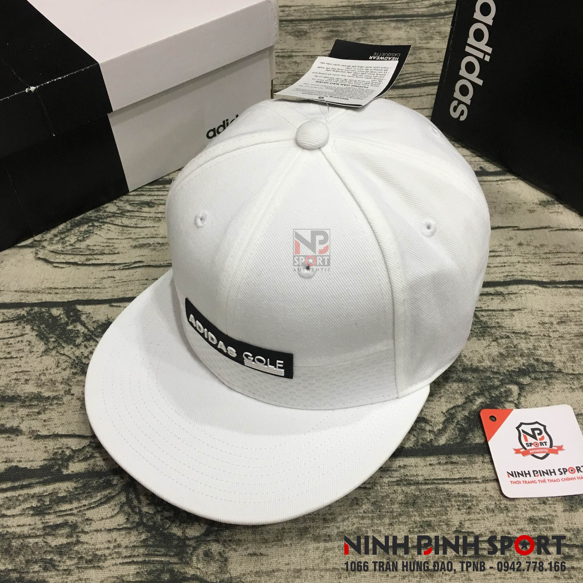 Mũ thể thao Adidas Golf Tonal Block Flat-Brim Cap White CY9770