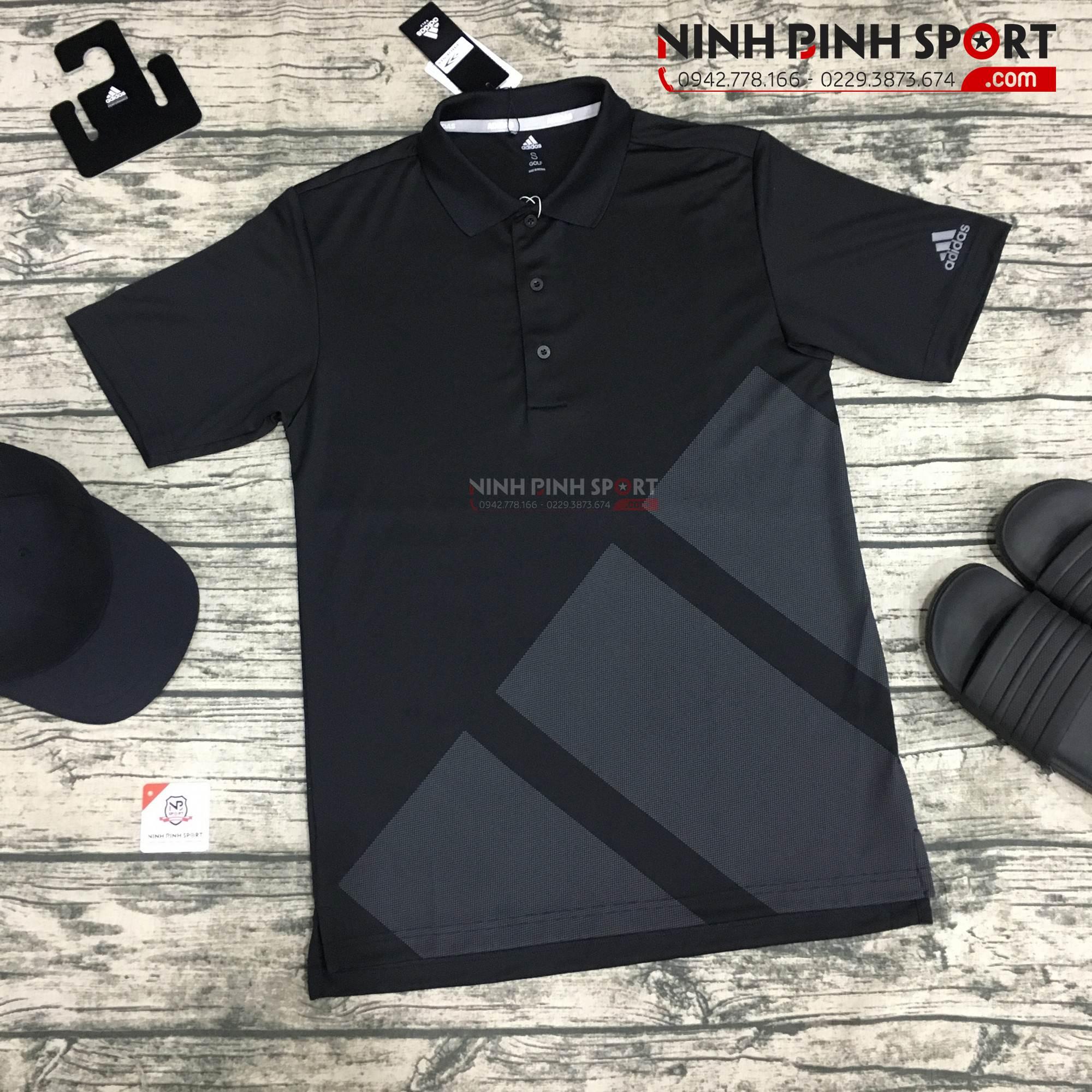 Áo thể thao golf nam Adidas Golf Bold 3-Stripe Black CZ8217