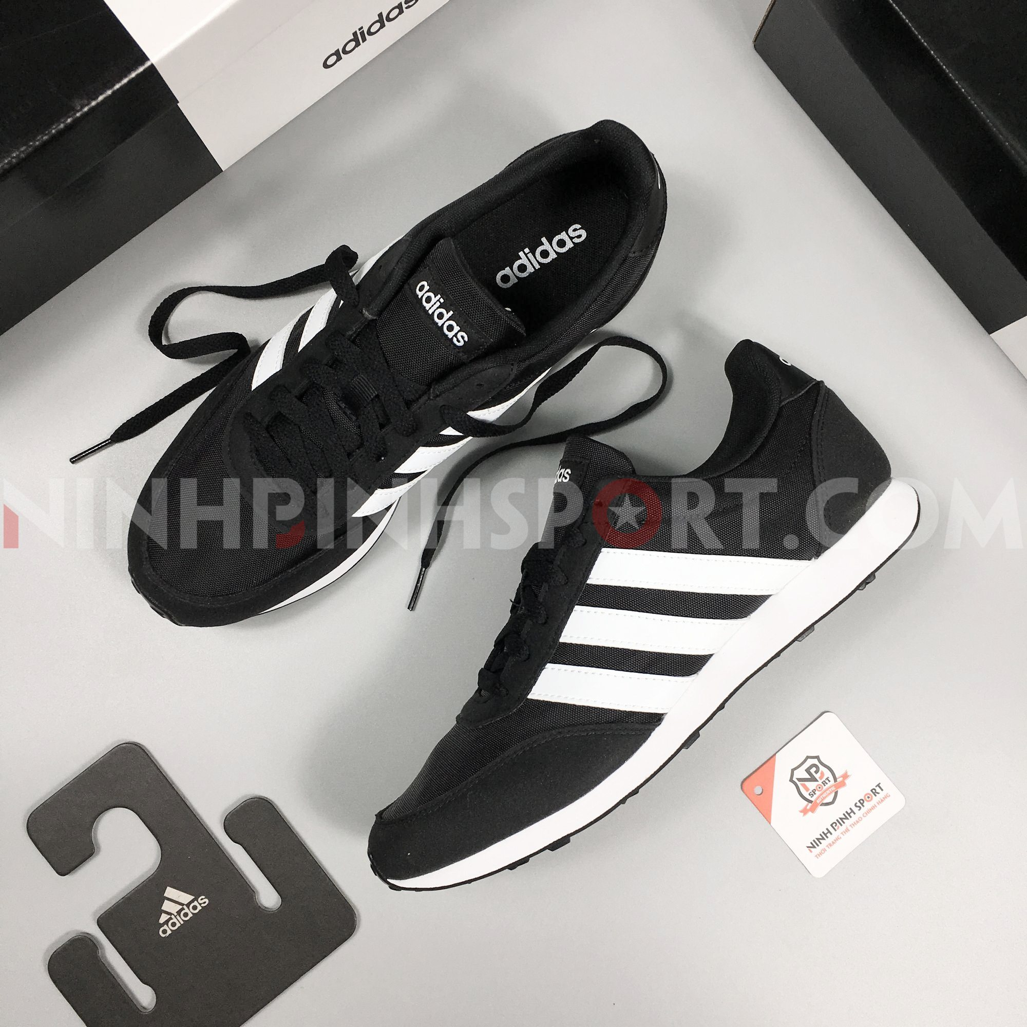 Giầy thể thao nam Adidas Neo V Racer 2.0 Black - EE6405