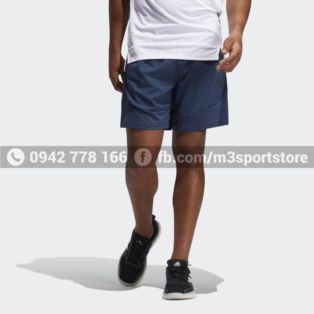 Quần short thể thao nam Adidas slim 3 sọc Aeroready GM0333