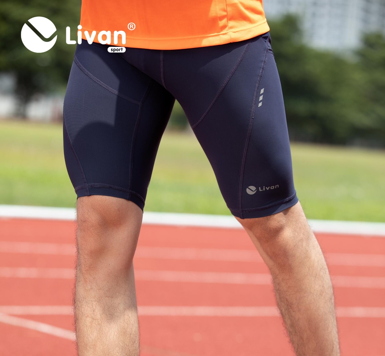 Quần bó cơ Running nam Livan màu xanh tím than LV20220030XTH