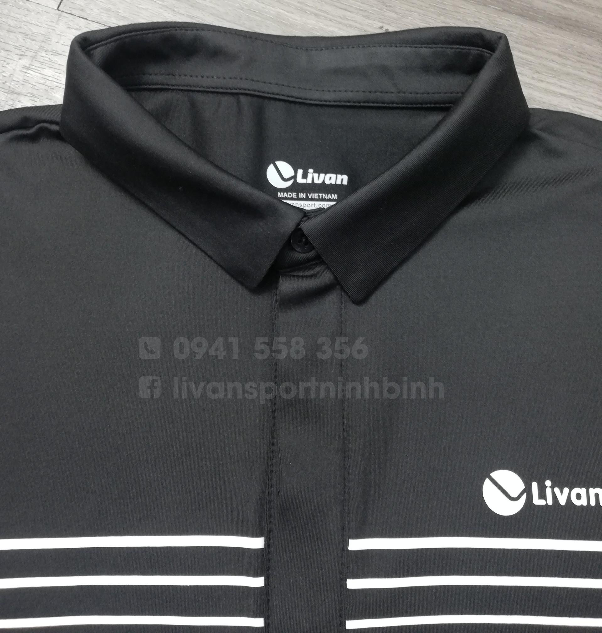 Áo polo in kẻ ngang nam màu đen LV20221024-MD