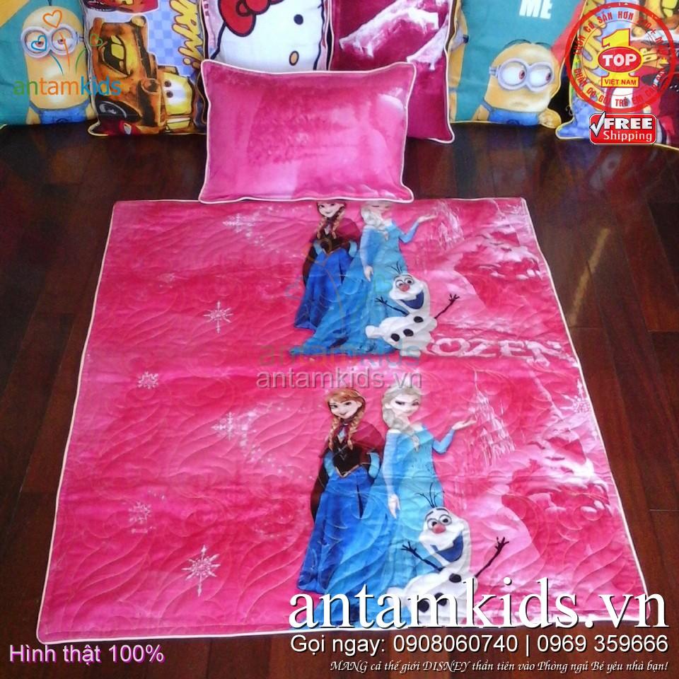 Bộ chăn gối cho bé đi học mẫu giáoin 3D hìnhCông chúa Băng giá Frozen Anna Elsa