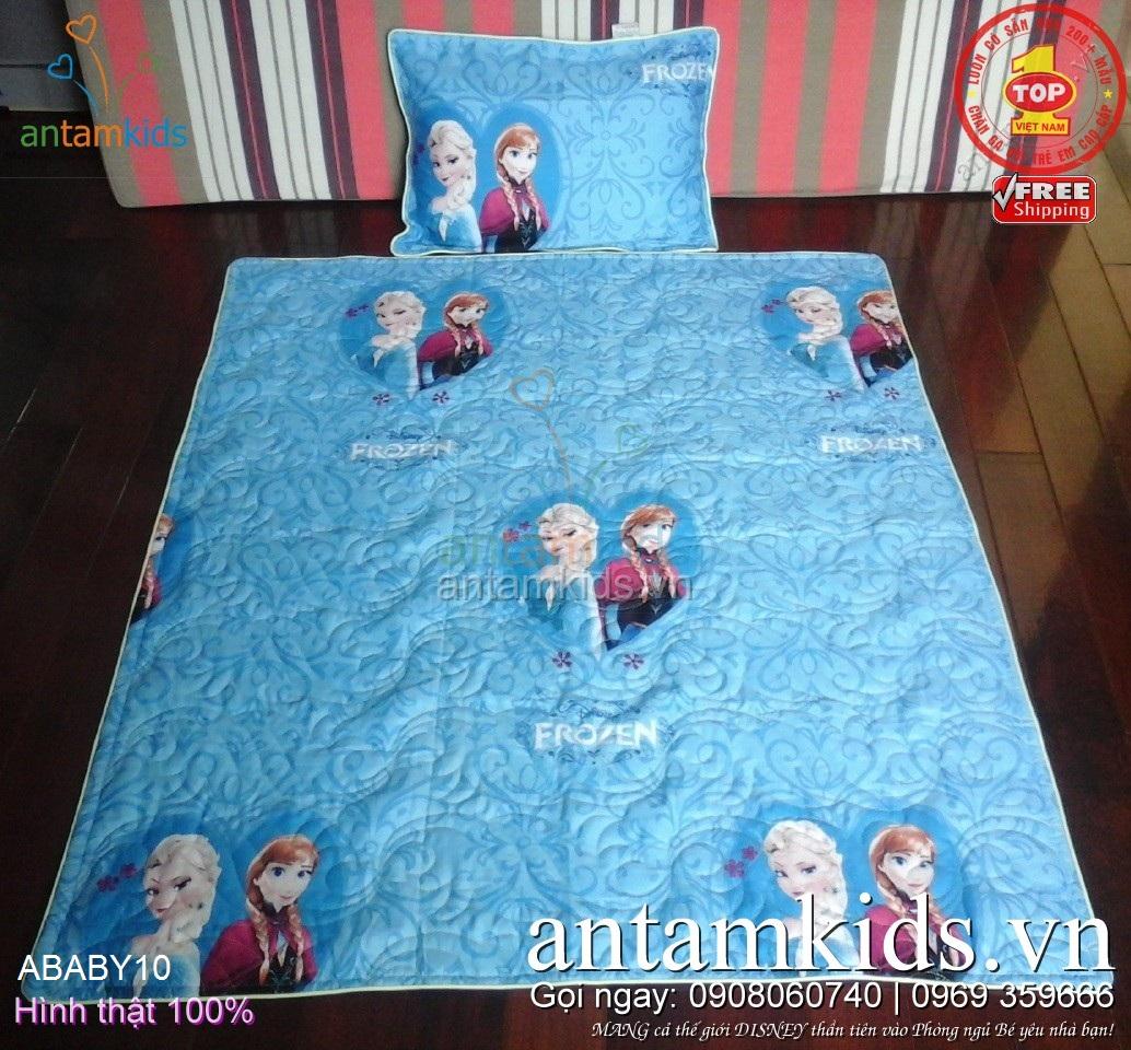 Bộ Chăn gối cho bé gái đi học mẫu giáo hình Nữ hoàng Băng giá Elsa Anna Frozen, xanh dương siêu dễ thương ABABY10