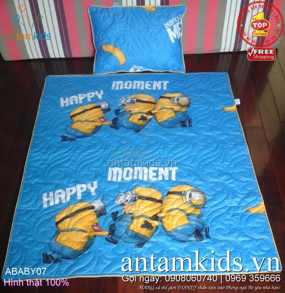 Chăn gối cho bé đi học hình Minions Happy Moment, màu vàng-xanh cho con Hạnh phúc mọi lúc mọi nơi ABABY07