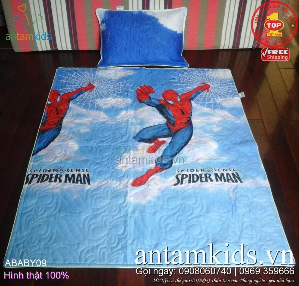 Bộ Chăn mền gối cho bé trai đi học mẫu giáo hình Người nhện SpiderMan siêu anh hùng ABABY09