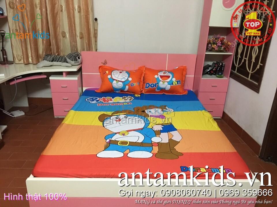 bộ drap gối trẻ em hình Doremon Nobita hoạt hình cho bé trai bé gái