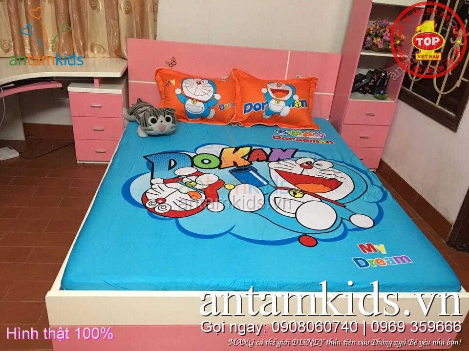 bộ ga trải giường trẻ em hình Doremon Nobita hoạt hình cho bé trai bé gái