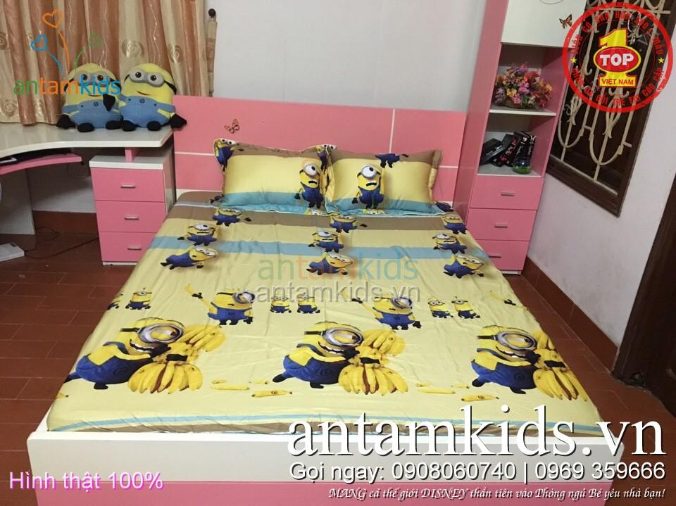 Ra trải giường Minions hoạt hình cho bé trai bé gái - antamkids.vn