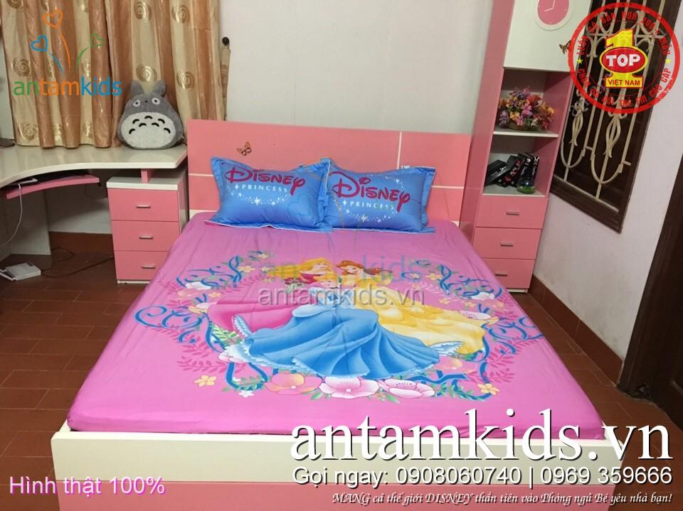 Các kiểu mẫu Drap trải giường cho em bé gái hình Công chúa Disney Princess, Búp bê Barbie, Nàng tiên cá Ariel, Nữ hoàng băng giá Frozen Elsa - công chúa Anna, Hello Kitty đẹp mê ly