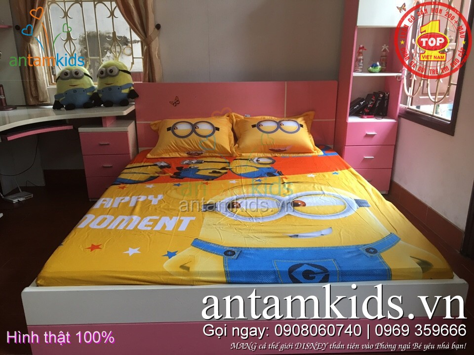 Drap trải giường cho bé trai bé gái hình Minion, Công chúa, Hello Kitty, Frozen, Siêu nhân, ô tô, Doremon
