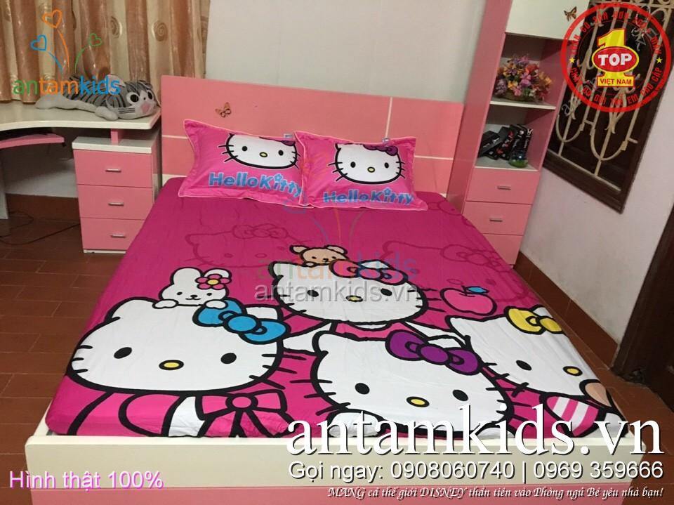 Drap trải giường cho em bé gái hình Hello Kitty - Ga giường Hello Kitty