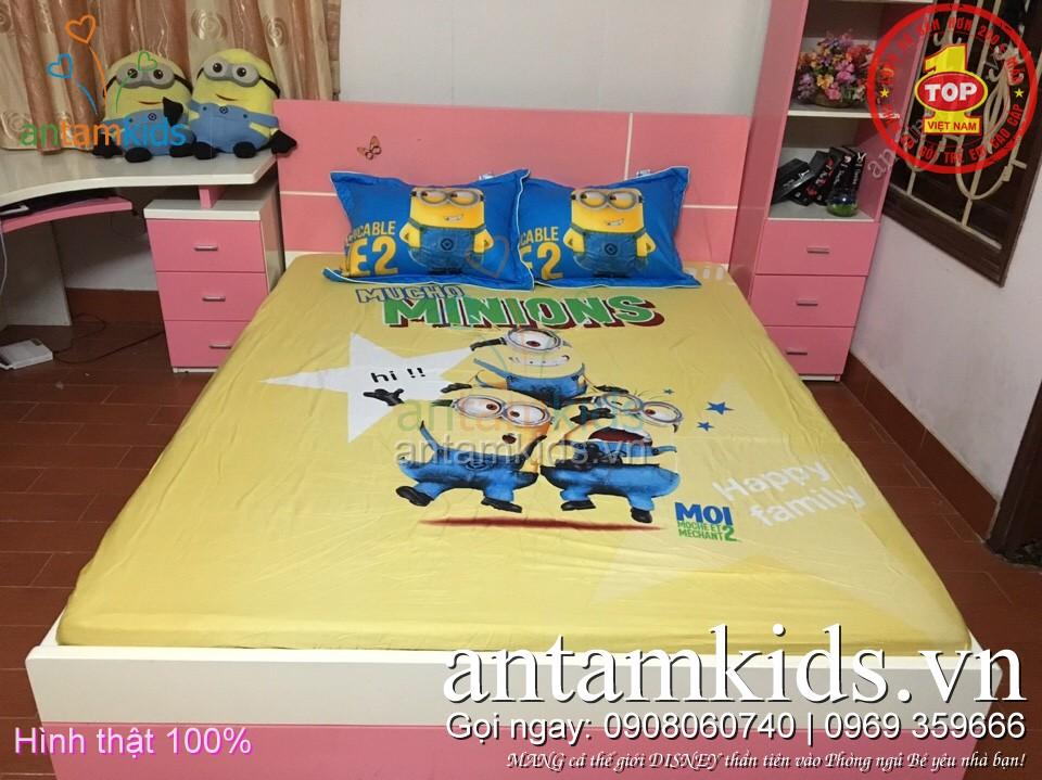 Drap trải giường cho bé yêuhình Minions - chăn ga gối trẻ em antamkids