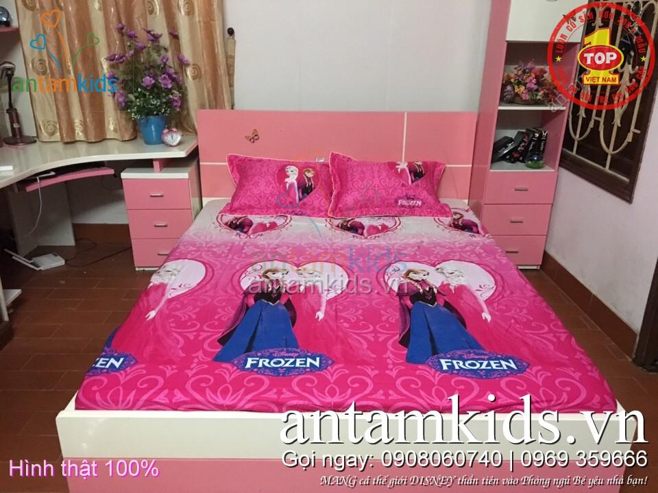 Ga trải giường cho em bé gái hình công chúa băng giá Frozen Elsa Anna
