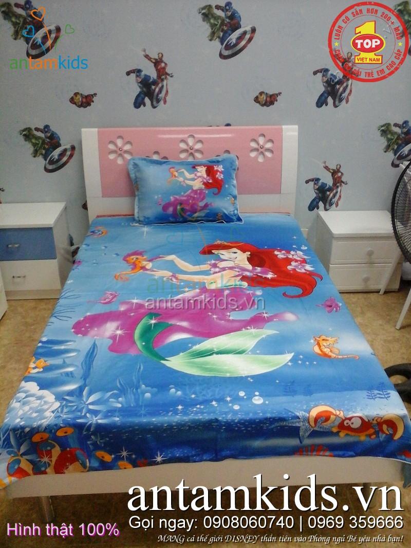 Các kiểu mẫu ra trải giường cho em bé gái hình Công chúa Disney Princess, Búp bê Barbie, Nàng tiên cá Ariel, Nữ hoàng băng giá Frozen Elsa - công chúa Anna, Hello Kitty đẹp mê ly