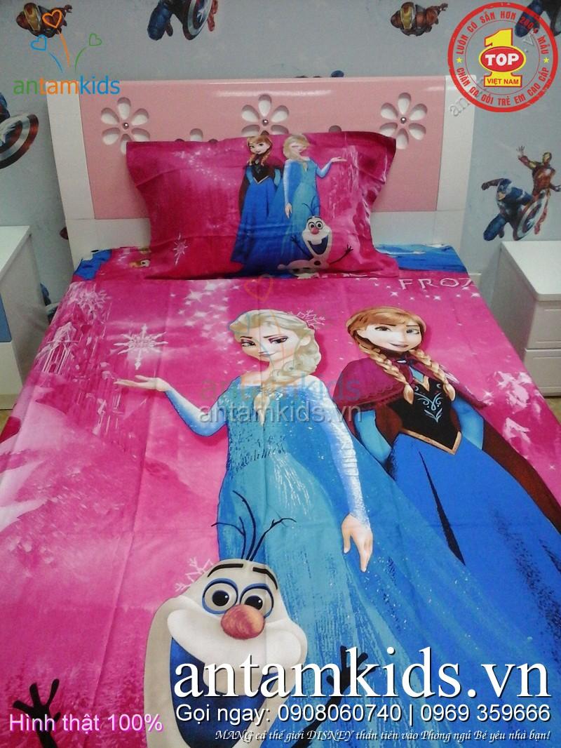 Drap trải giường cho em bé gái hình Nữ hoàng băng giá Frozen Elsa - công chúa Anna
