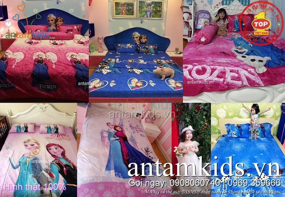 bộ chăn ga gối Frozen Elsa Anna của AntamKids.vn cho em bé gái