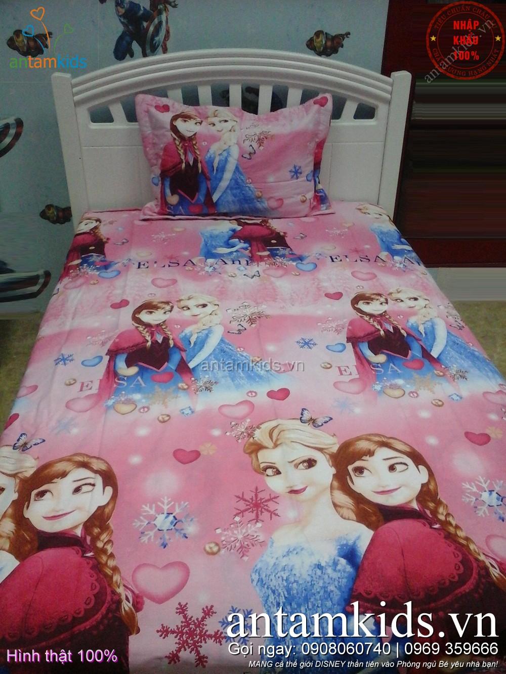 Drap trải giường cho em bé gái hình công chúa băng giá Frozen Elsa Anna