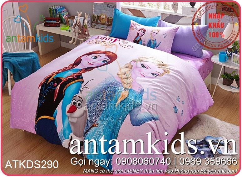 Chăn Ga Gối Disney Frozen hoạt hình trẻ em cho bé gái màu hồng antamkids