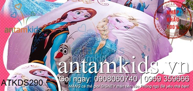 Chăn ga gối hìnhNữ hoàng Băng giáAnna Elsa cho trẻ em antamkids.vn