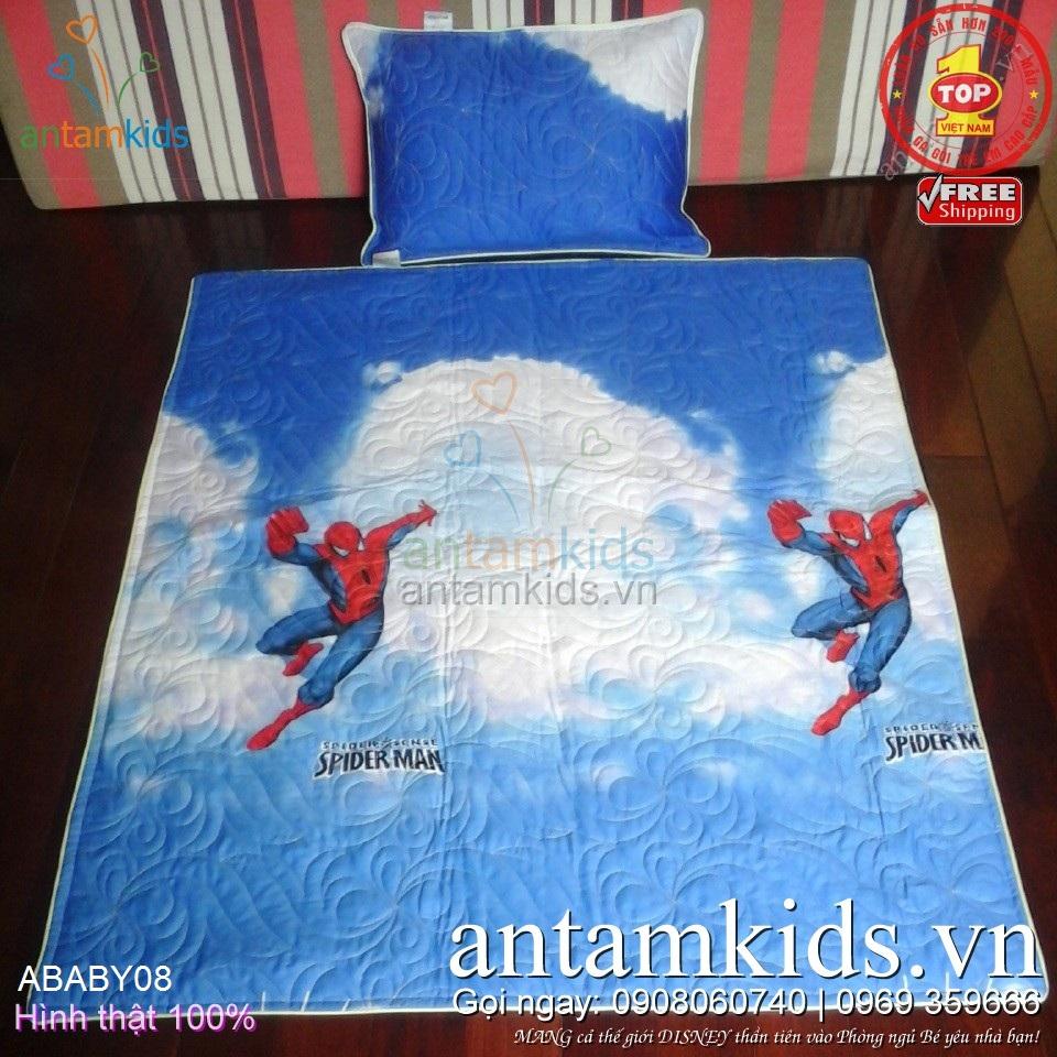 Chăn gối Người nhện SpiderMan cho bé trai đi học mẫu giáo - siêu mạnh mẽ cá tính siêu men_lỳ ABABY08