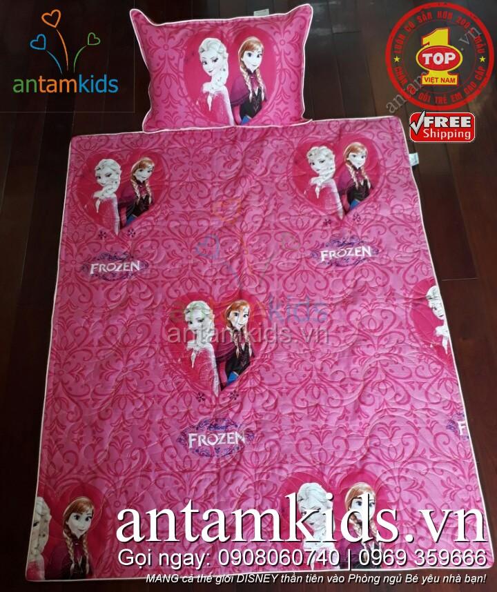 Bộ chăn gối cho bé gái đi học hình Elsa Anna - Công chúa Băng giá Frozen màu hồng dễ thương