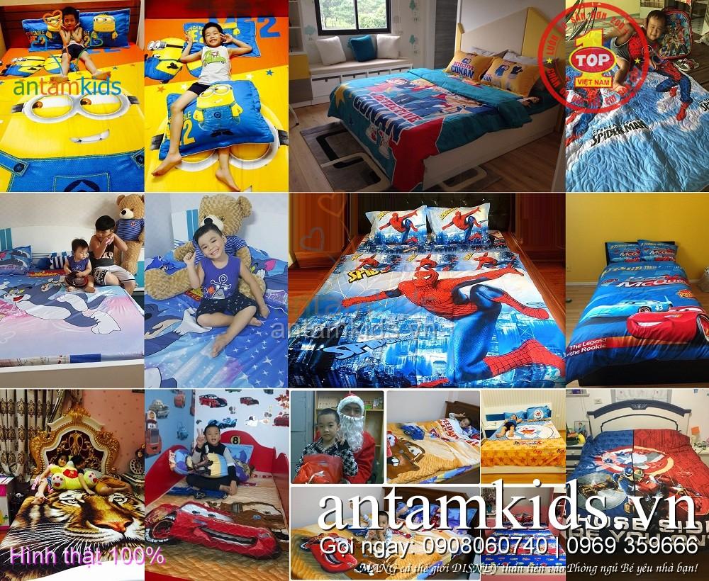 Chăn ga gối cho bé trai hoạt hình Người nhện SpiderMan, Siêu nhân, McQueen, Minion, Doremon