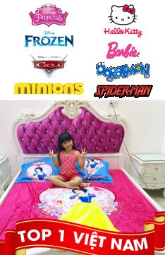 Chăn ga gối trẻ em cao cấp hình Hello Kitty Công chúa Minion Doremon siêu nhâncho bé trai bé gái