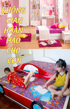 Nội thất trẻ em, phòng ngủ giường ngủ ô tô công chúa cho bé trai bé gái