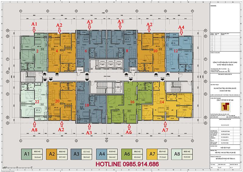 Mặt bằng căn hộ chung cư 89 Thịnh Liệt