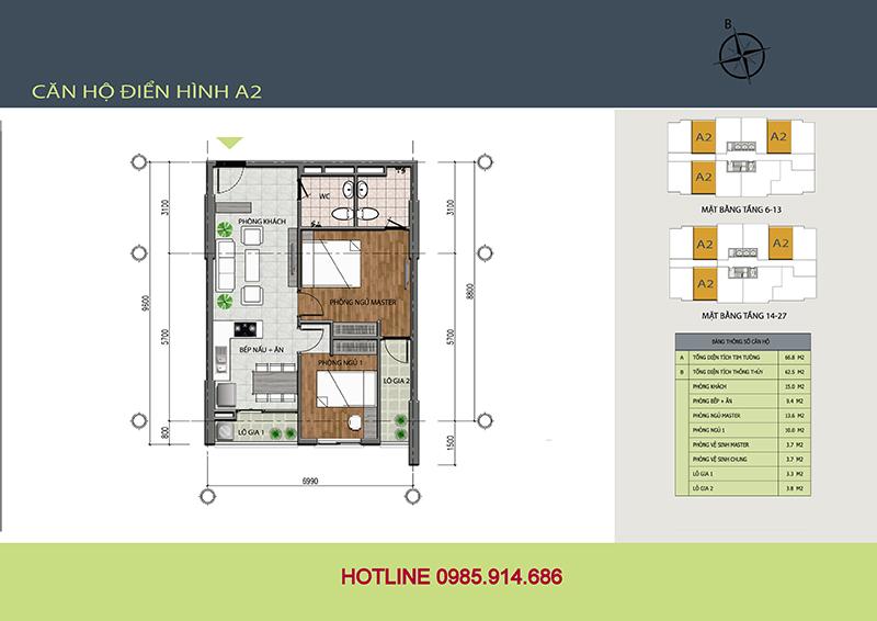 Mẫu thiết kế A2 chung cư 89 Thịnh Liệt