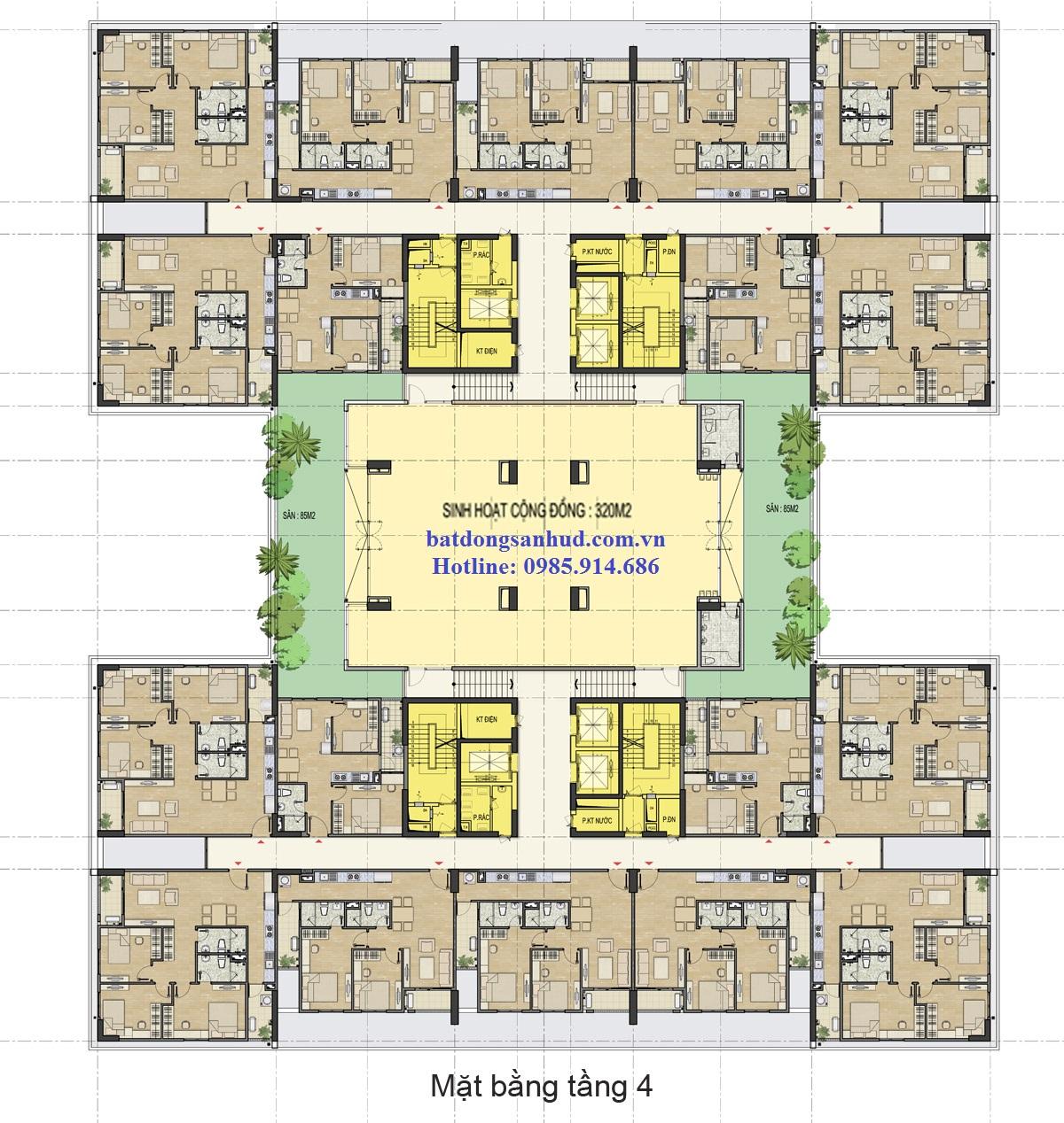 Mặt bằng tầng 4 chung cư HUD3 Nguyễn Đức Cảnh