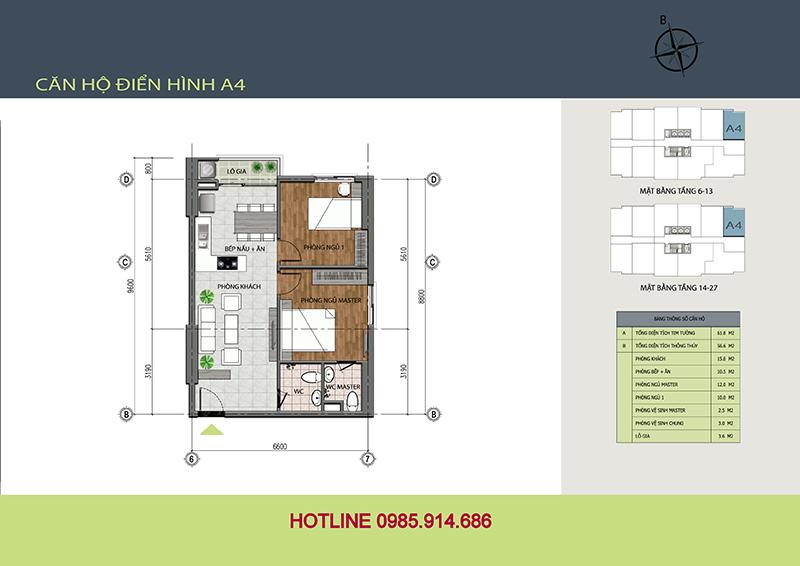 Mẫu thiết kế căn A4 chung cư 89 Thịnh Liệt