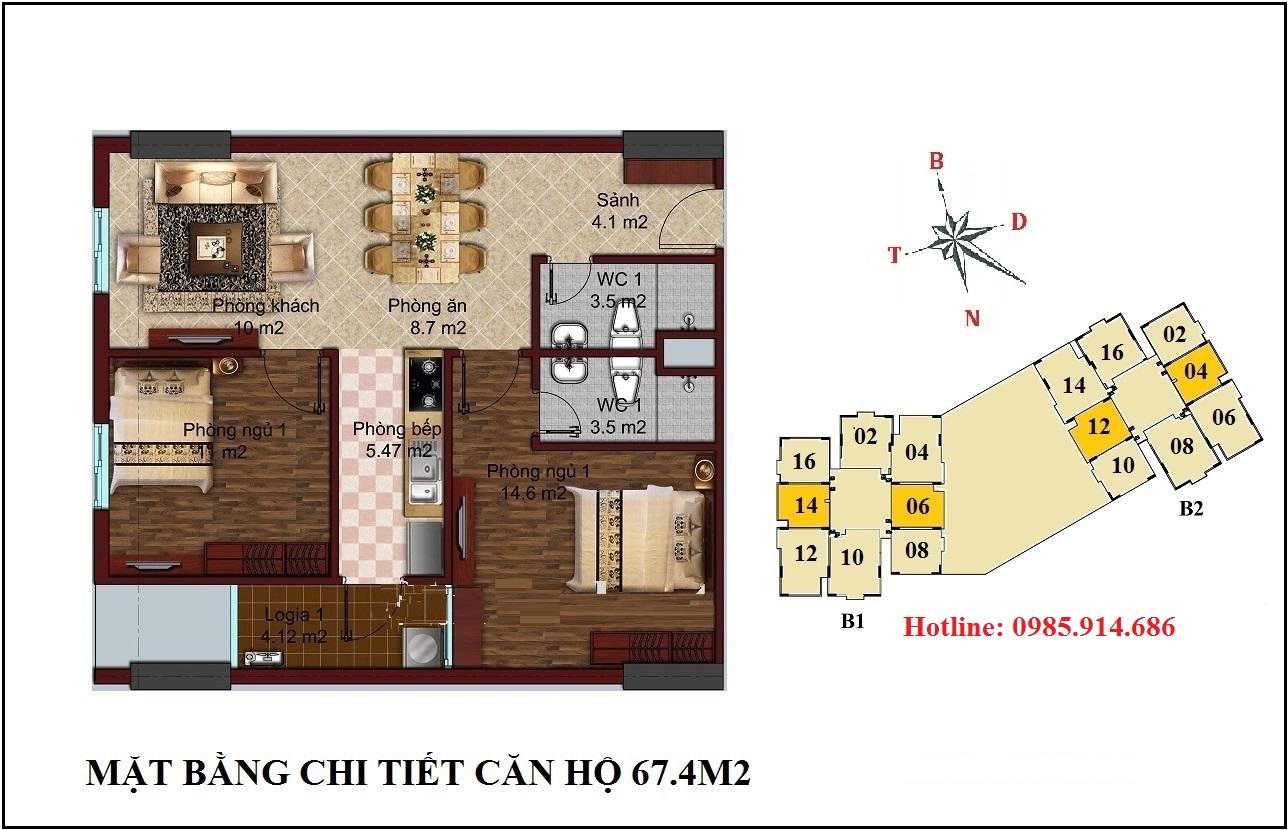 Chung cư B1B2 CT2 Tây Nam Linh Đàm 3